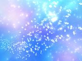falling snowflakes on a pink and blue background