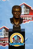 CANTON, OH-AUG 3: The bust of former head coach Bill Parcells on display during the NFL Class of 201