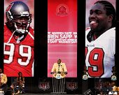 CANTON, OH-AUG 3: Former Tampa Bay Buccaneers defensive tackle Warren Sapp gives his speech during the NFL Class of 2013 Enshrinement Ceremony at Fawcett Stadium on August 3, 2013 in Canton, Ohio.