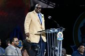 CANTON, OH-AUG 3: Former Dallas Cowboys offensive lineman Larry Allen gives his speech during the NF