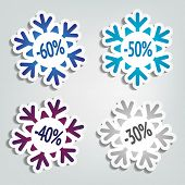 Winter Sales Stickers in the Shape of Snowflakes
