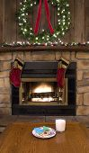 Christmas Fireplace Hearth With Cookies And Milk For Santa
