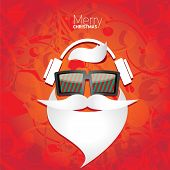stock photo of moustache  - Vector Hipster santa poster for party or greeting card - JPG