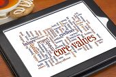 word cloud of possible core values on a digital tablet with a cup of tea and cookie