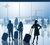 stock photo of time flies  - Passengers with luggage in airport - JPG