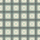 Retro Geometric Seamless Pattern In Blue Grey And Brown