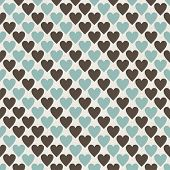 Brown, Blue And Grey Retro Seamless Hearts Pattern In Vector