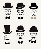 pic of moustache  - Hipster Retro Vintage Vector Icon Set - JPG