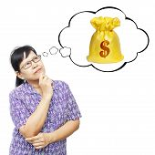 Asian Senior Woman Thinking To Money Bag