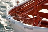 Closeup Lifeboat With A Rope On The Sea.