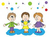 Children singing. Vector illustration.