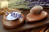 Lavender spa with sea salt and dried lavender