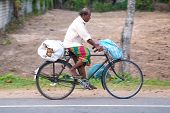 WELIGAMA, SRI LANKA - MARCH 7, 2014: Local man rides a bicycle on local road. Cycling is the main tr