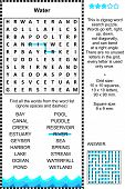 Water themed wordsearch puzzle