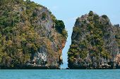 Rocky tropical landscape in the Pang Nga bay, Thailand