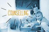 The word counselling against students in a classroom