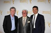 LOS ANGELES - APR 9:  Tom Bergeron, Vin Di Bonoa, Mario Lopez at the An Evening with