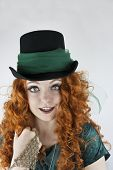 Close-up of woman wearing top hat