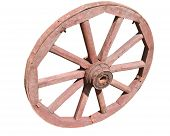 stock photo of ferrous metal  - Old wheel from a cart on a white background - JPG
