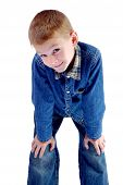 stock photo of maliciousness  - The boy looks with a malicious look - JPG