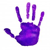 a violet handprint on a white background, depicting the idea of to stop violence against women, as v