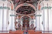 St. Gallen Cathedral Interior. Switzerland. Swiss landmark, listed on Unesco World Heritage List.