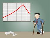 Businessman Standing Injured On Front Of Whiteboard Presentation Arrow Chart.