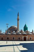picture of rumi  - Green mevlana museum mosque in Konya Turkey - JPG