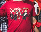 Funny T-shirt In The Liberation Day Parade In Milan