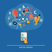Cloud Of Application Icons. Social Media