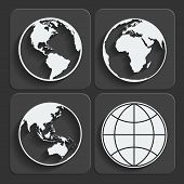 Set of earth planet globe web and mobile icons