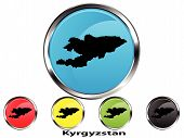 Glossy vector map button of Kyrgyzstan