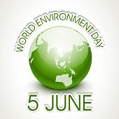 World Environment Day concept with shiny globe and stylish text on grey background.