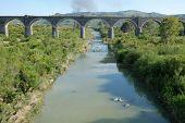 abandoned railway bridge on Simeto River, Sicily