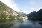 Cruise Ship in Geirangerfjord Norway