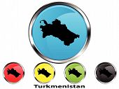 Glossy vector map button of Turkmenistan