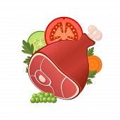 Ham meat with vegetables
