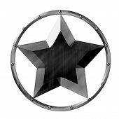 foto of stud  - Metal star logo steel silver and black with studs - JPG