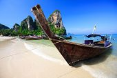 Tropical Beach Traditional Long Tail Boat