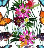 seamless pattern of butterflies and tropical flowers