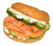 Fresh Smoked Salmon And Cream Cheese Bagel Sandwich