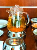 Making Leaf Tea In Transparent Glass Teapot