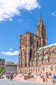 STRASBOURG, FRANCE - APRIL 16: Cathedral of Our Lady on APRIL 16, 2014 in Strasbourg, France.  Widel