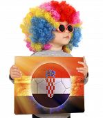 Child With Croatian Soccer Background