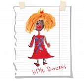 Princess Children's Hand Drawing.doodle On Notebook Sheet