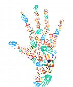 Colorful handprints in shape of human hand isolated on white