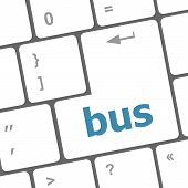 Bus Word Icon On Laptop Keyboard Keys