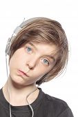 Funny Teenager Boy With Earphones, Isolated On White