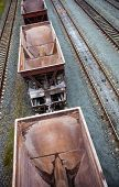 picture of railcar  - Empty freight wagons passing by - JPG