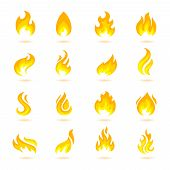image of fieri  - Fire flame burn flare torch hell fiery icons set isolated vector illustration - JPG